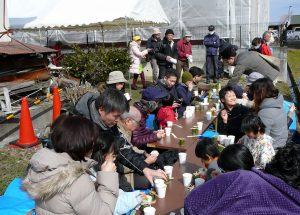 菜の花の天ぷら試食